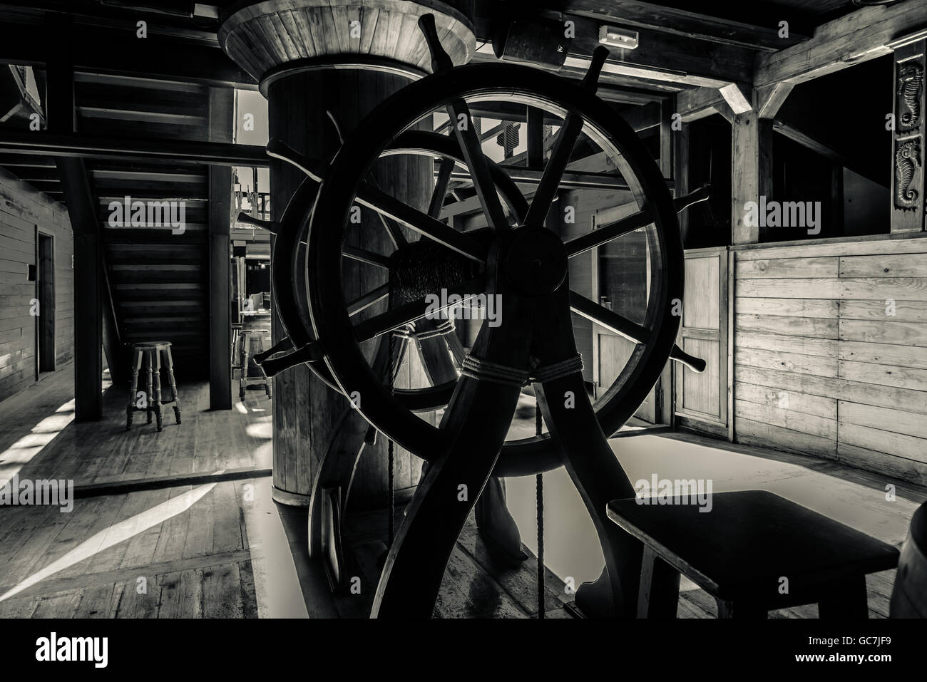 Interior of old pirate ship. Black and white image Stock Photo