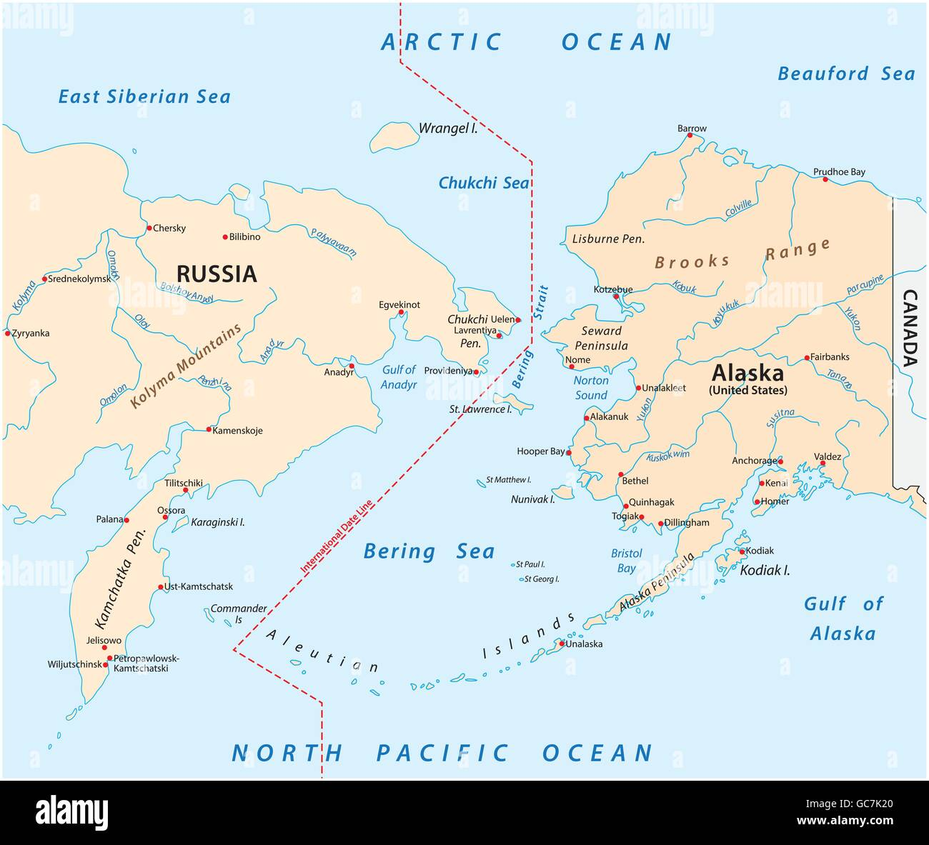 vector map of the Bering Strait between Russia and Alaska Stock