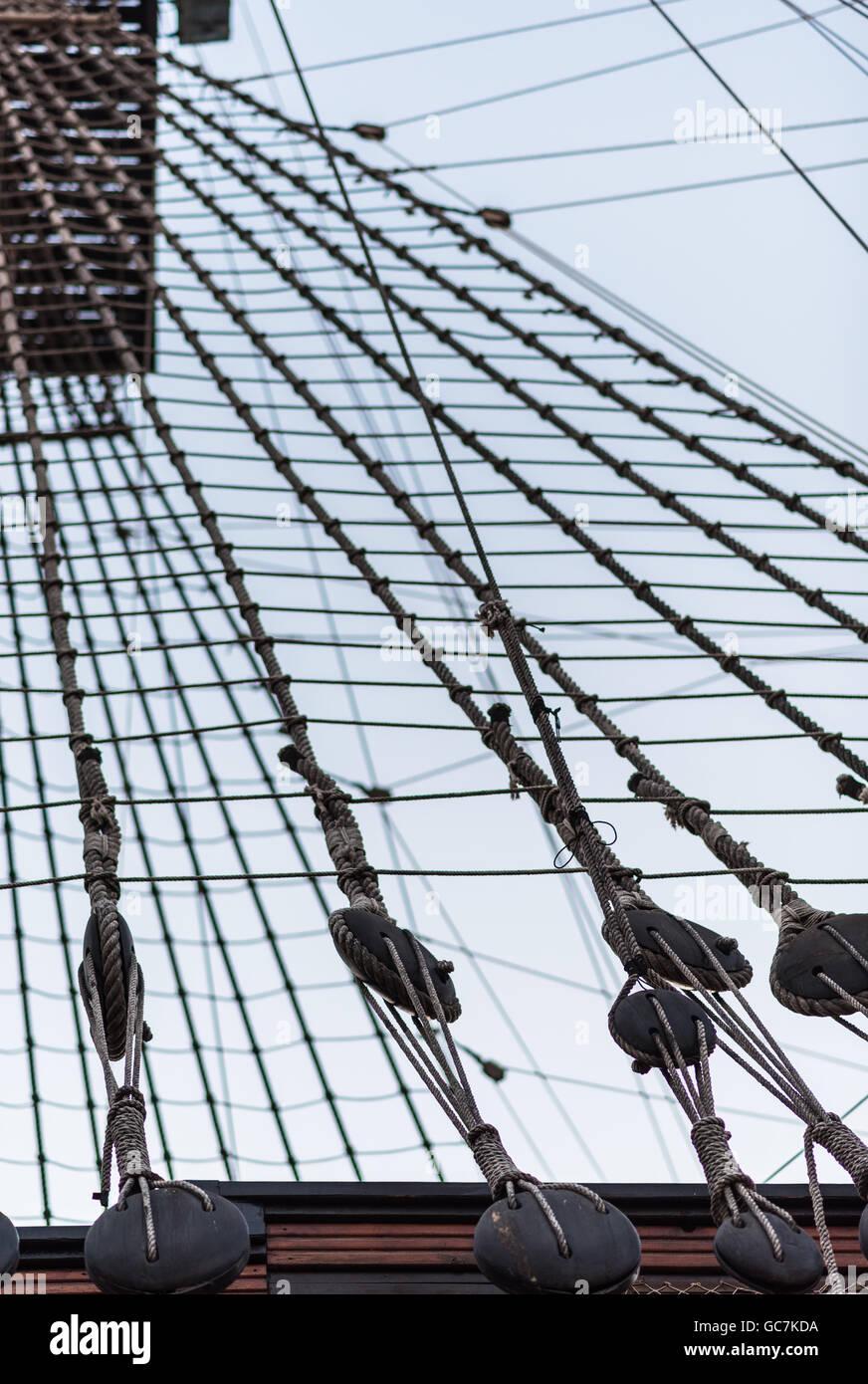 Ship shrouds - Stock Image