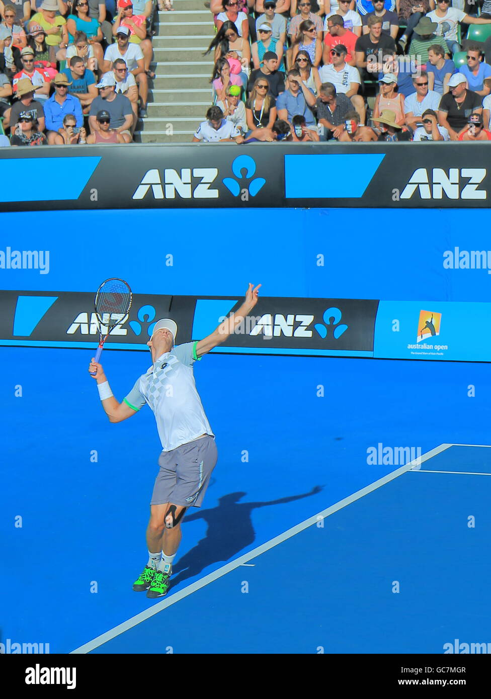 Kevin Anderson plays at Australian Open in Melbourne Australia. - Stock Image