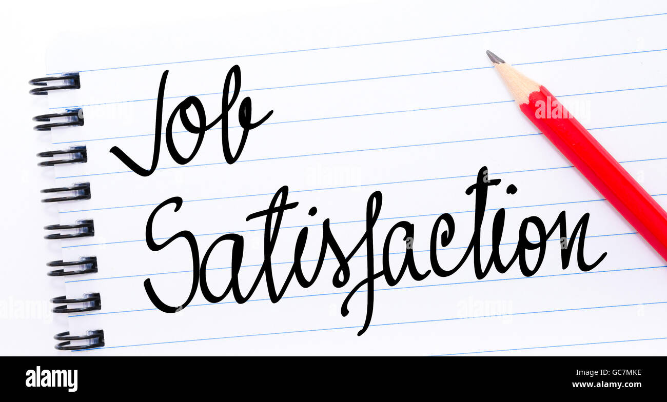 Job Satisfaction written on notebook page with red pencil on the right - Stock Image