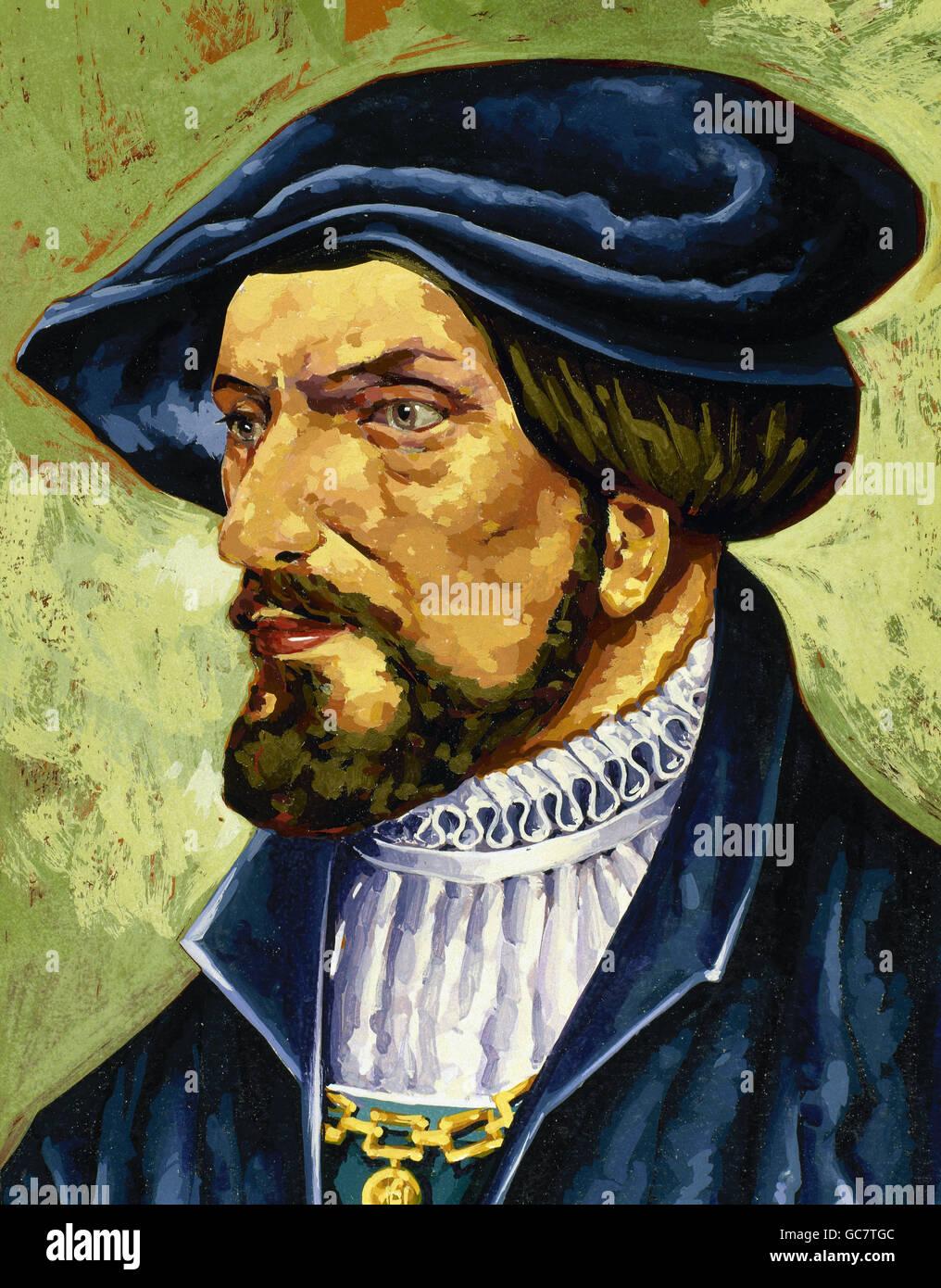 Rodrigo de Bastidas (1445-1527). Spanish sailor and conqueror. Watercolor. - Stock Image