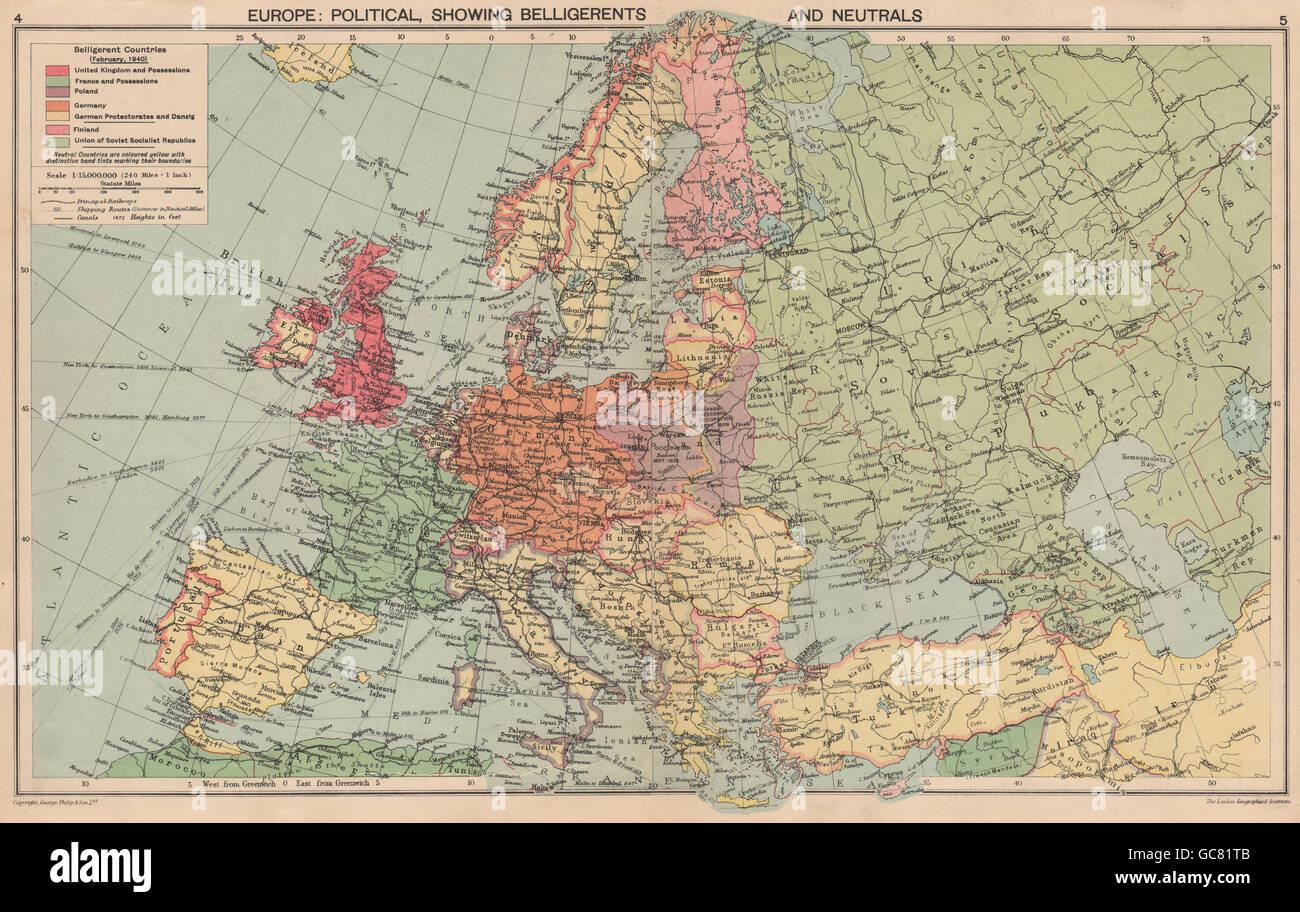 1940 EUROPE. WW2.Belligerents/Neutrals Occupied Poland/Finland Stock ...