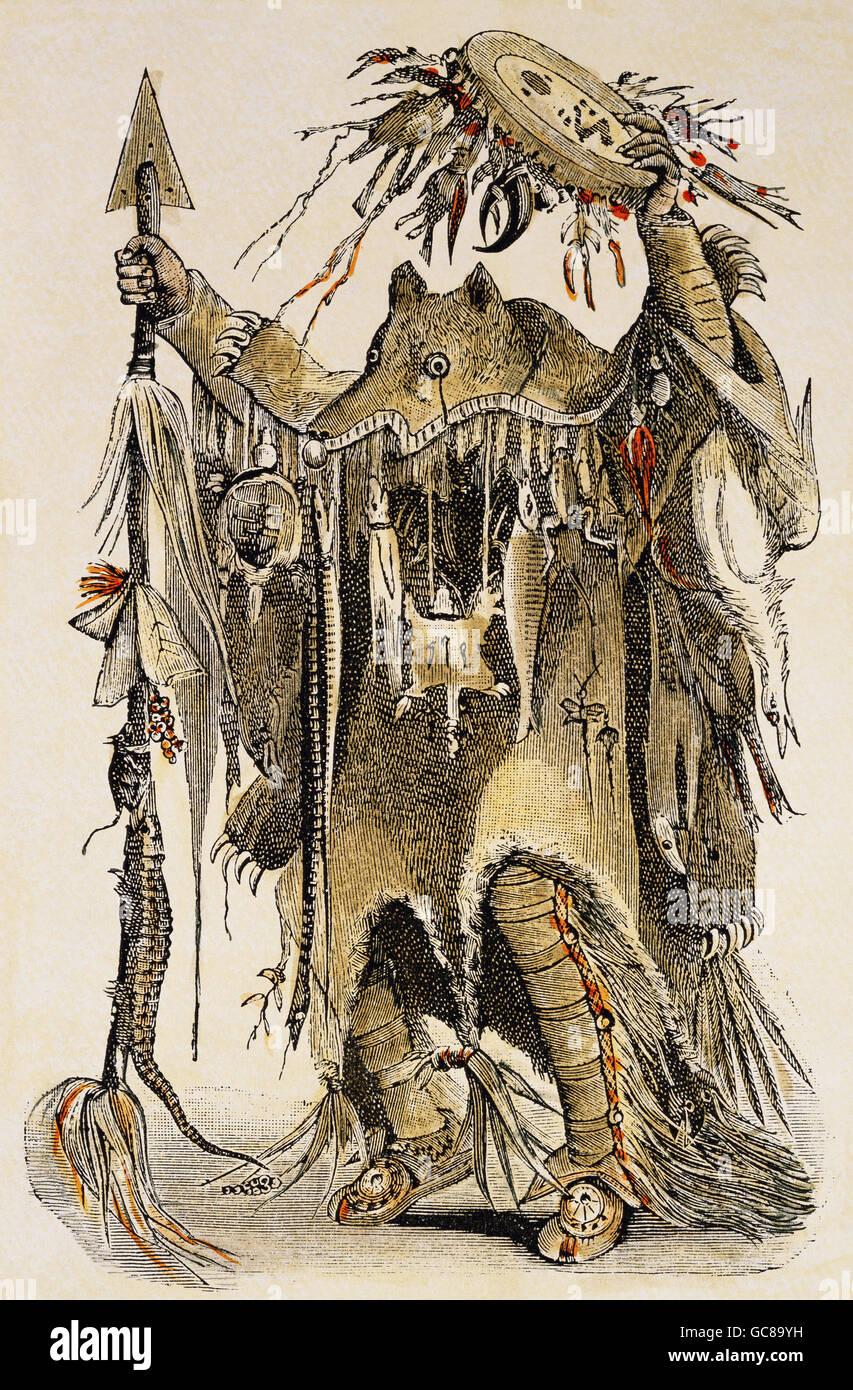 people, ethnology, men, Blackfoot Indian, medicine man, wood