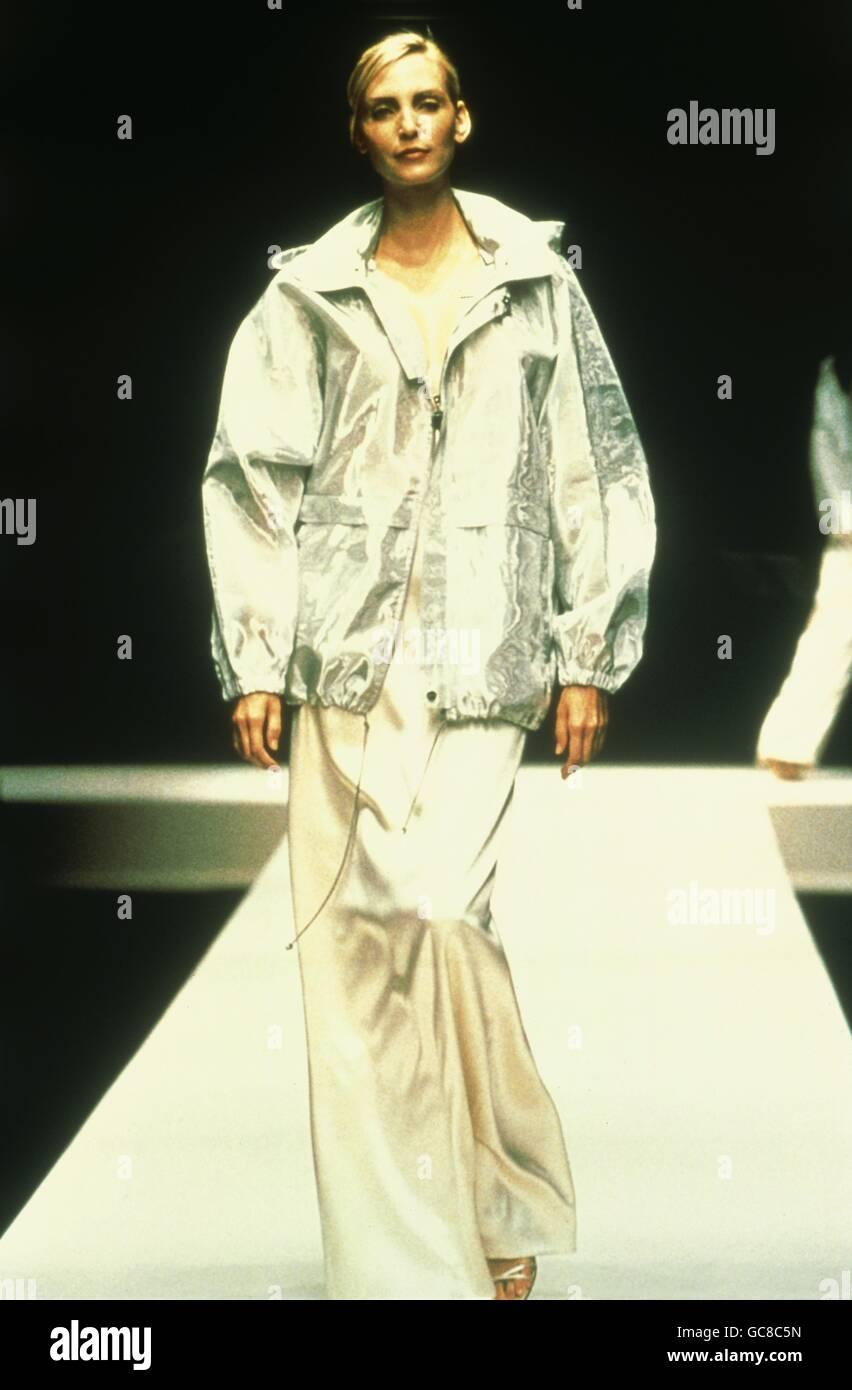 fashion, fashion show, Salvatore Ferragamo, Florence, 1998, catwalk, model, jacket, Italy, 20th century, historic, - Stock Image