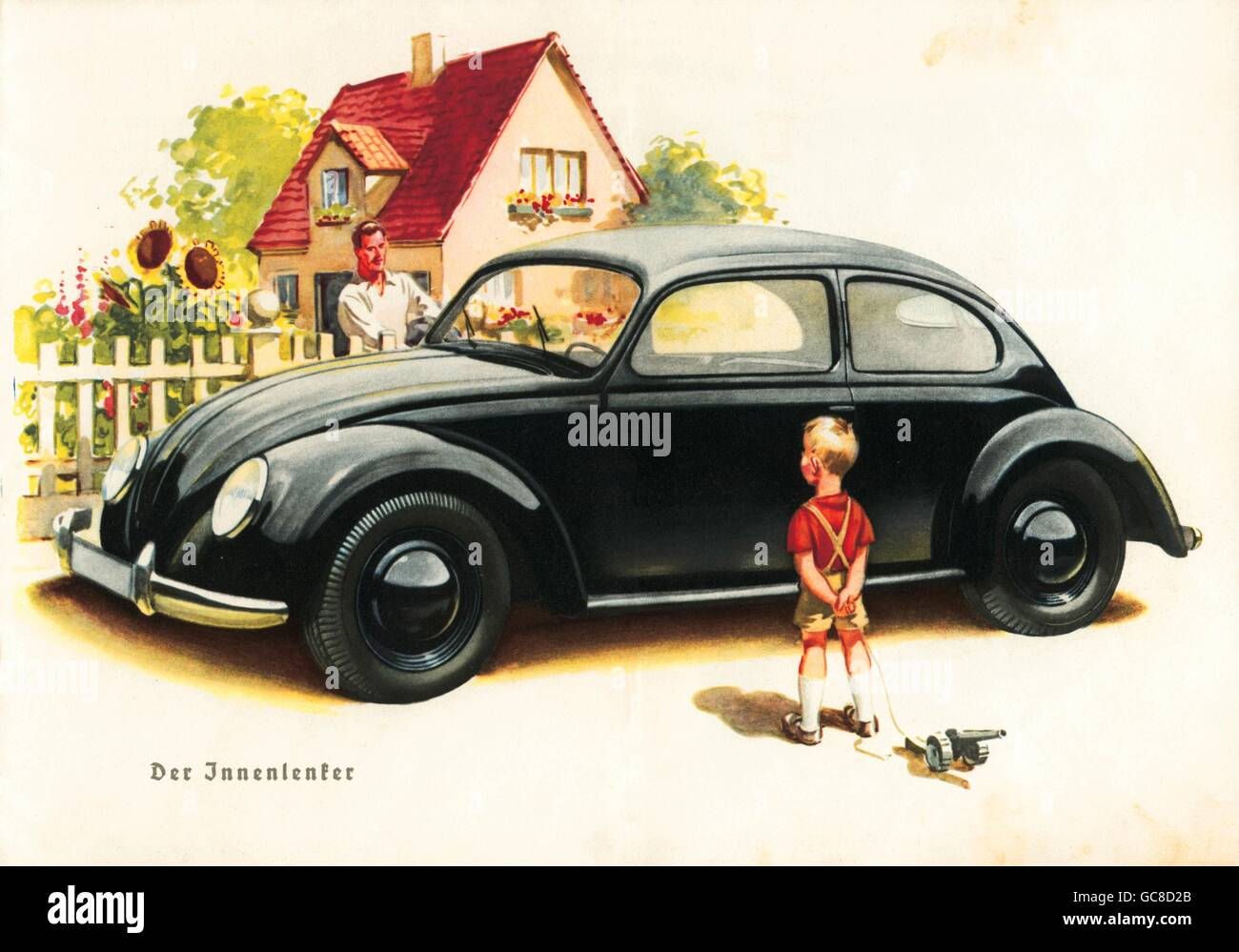 transport / transportation, car, vehicle variants, advertising for the new KdF car, little boy gazing the car, his - Stock Image