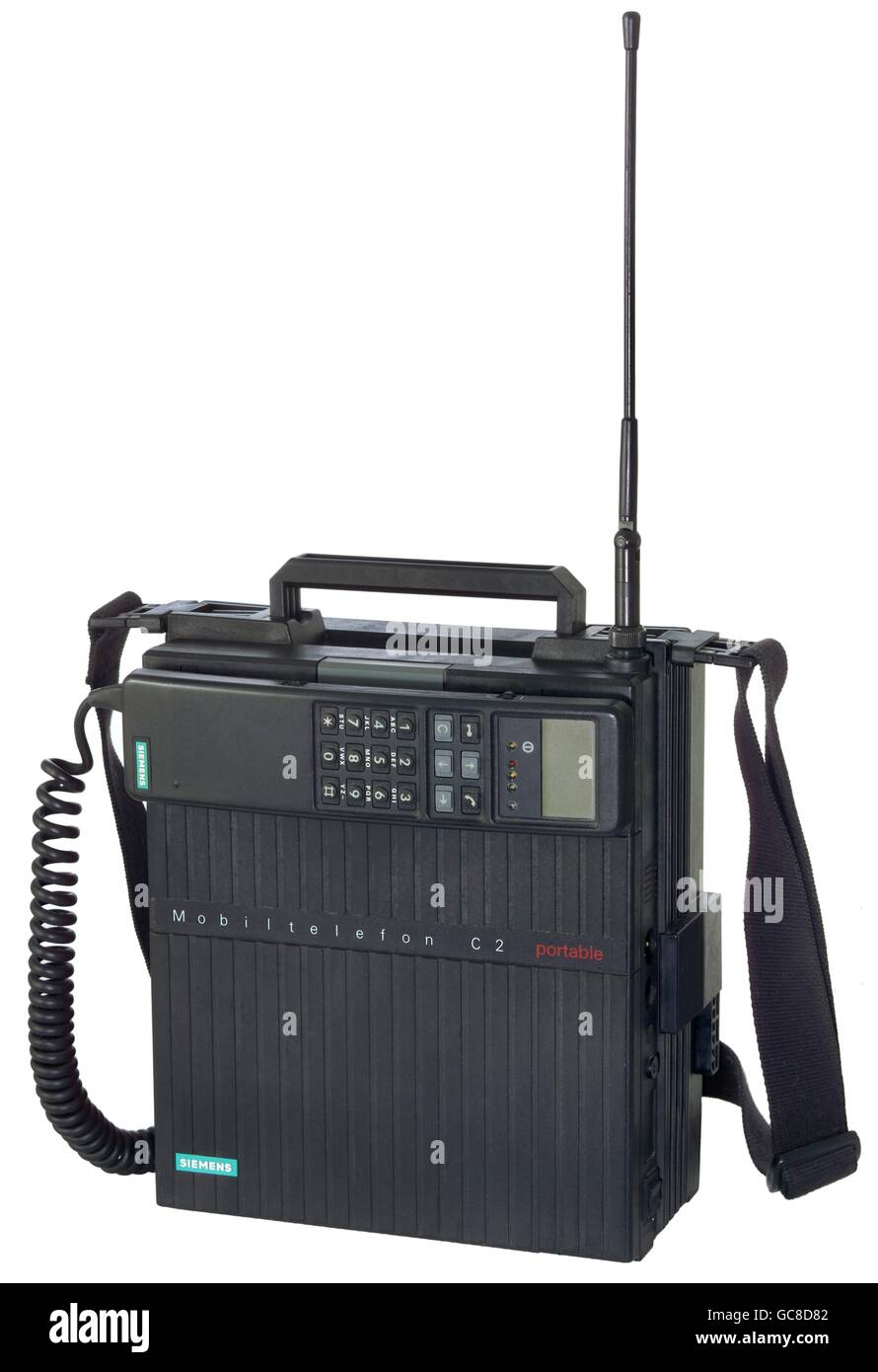technics, telephone, mobile phone, Siemens mobile phone C2, one of the very first C network mobile phone, portable - Stock Image