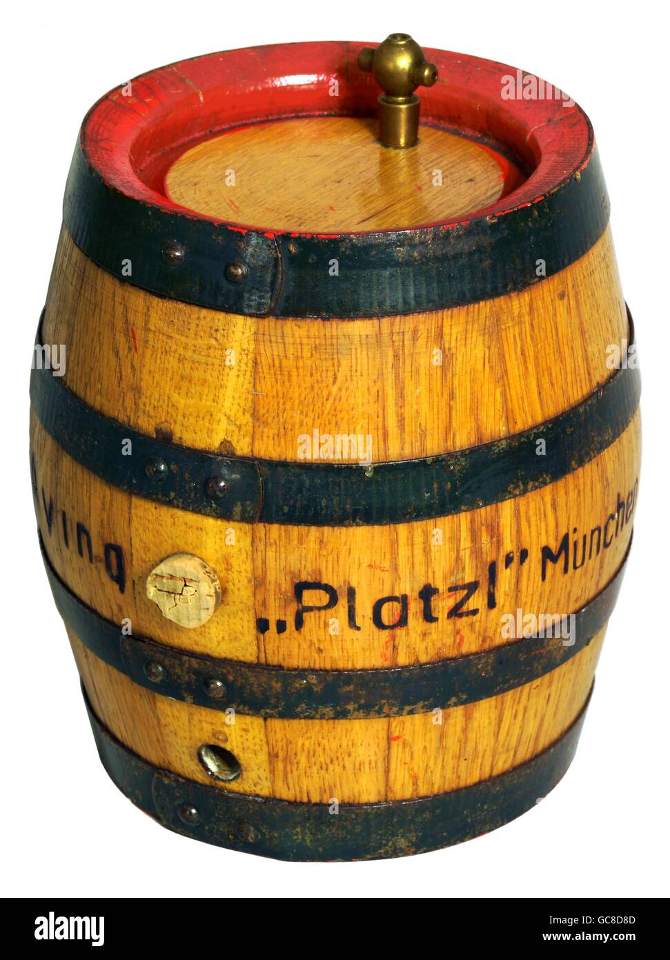alcohol, beer, small beer barrel, volume: 5 litre, from the Aying brewery for The Platzl in Munich, Germany, circa - Stock Image