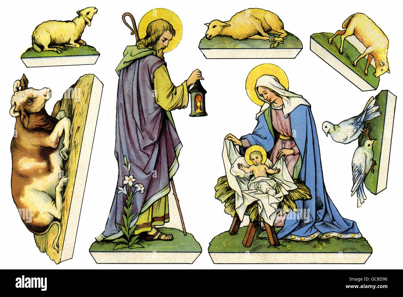 Christmas, cribs, paper cut-out, figures of saints for cut-out, small stand-up nativity scene, Germany, circa 1926, Stock Photo