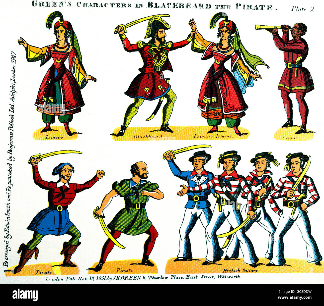 theatre, plays, 'Blackbeard the Pirate or the Jolly Buccaneers', figures, lithograph, J. K. Green, London, - Stock Image