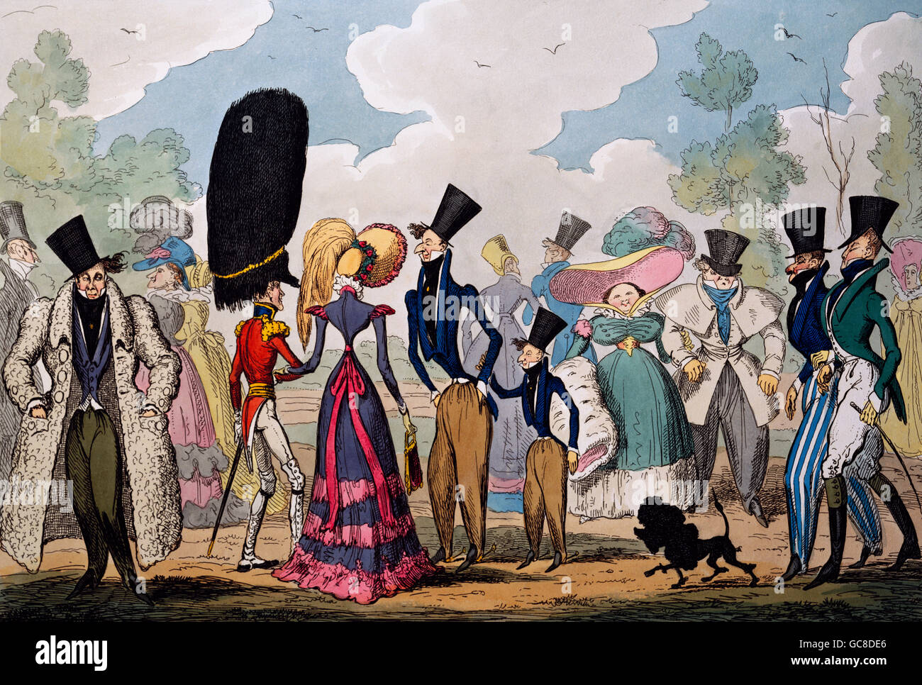 fashion, caricature, 'Monstrosities of 1821', aquatinta by  George Cruikshank, H. Humphrey, London, 1821, - Stock Image