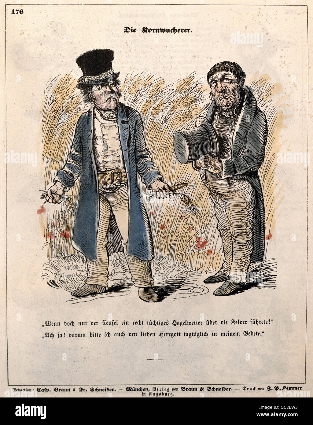people, society, political caricature, 'grain usurers', Fliegende Blätter, Germany, 1845, Additional - Stock Image