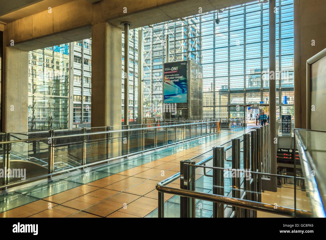 Britomart Transport Centre, interior showing glass facade , Auckland CBD, North Island, New Zealand - Stock Image