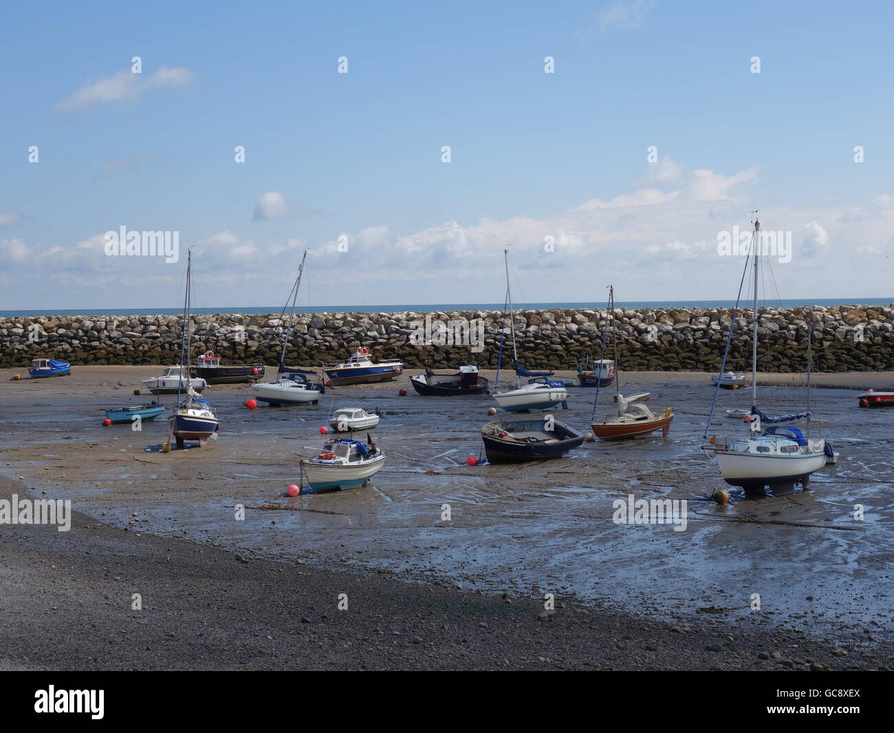 Beached yachts and boats - Stock Image