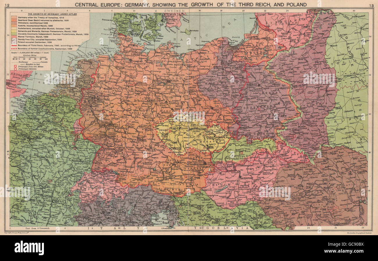 Poland Map 1940 NAZI GERMANY.Growth of the Third Reich. Occupied Poland