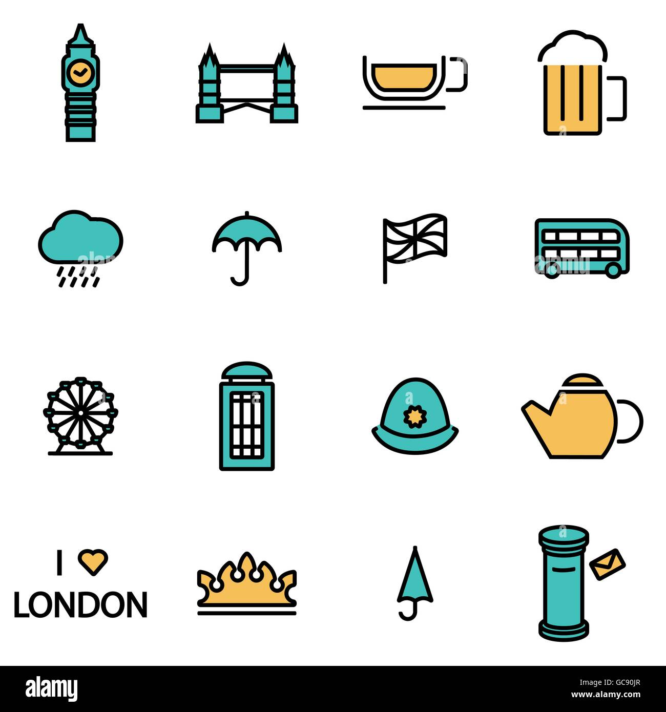 Trendy flat line icon pack for designers and developers. Vector line london icon set - Stock Image