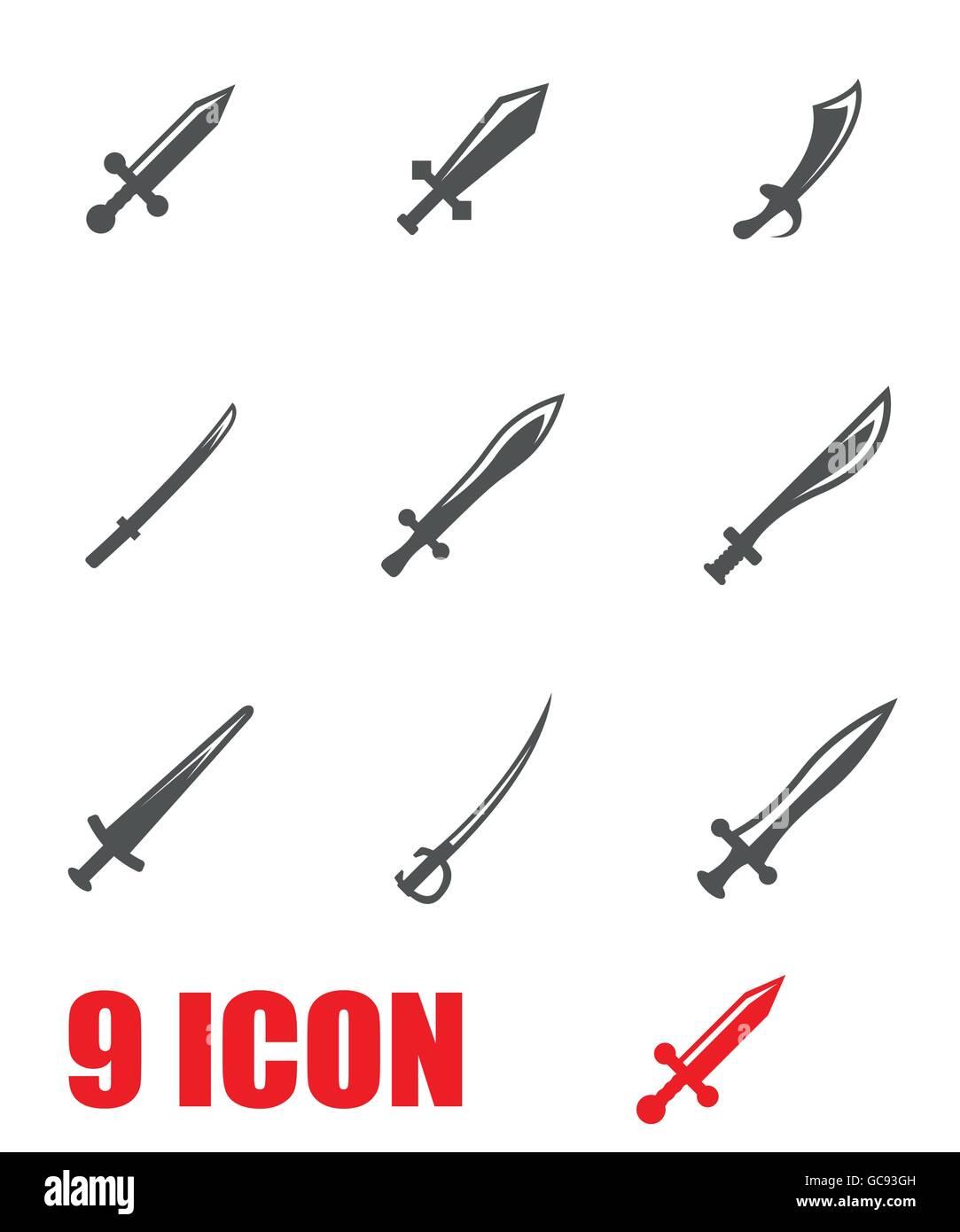 Vector grey sword icon set - Stock Vector