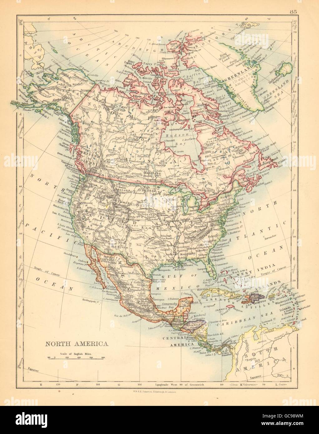 NORTH AMERICA POLITICAL Greenland Danish America USA Canada Stock