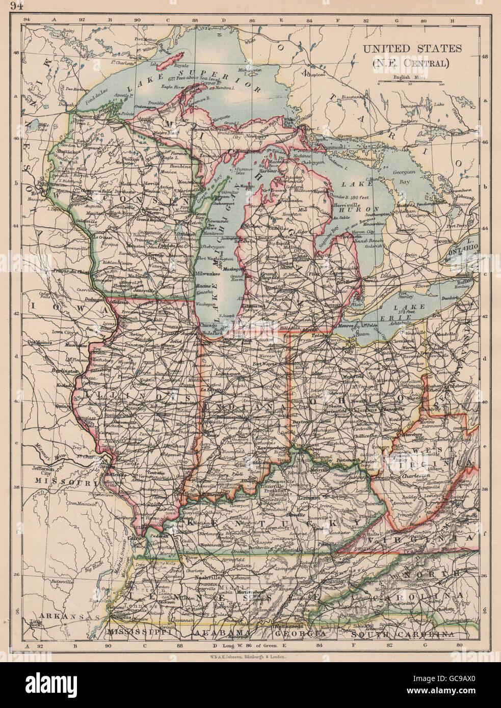 usa mid west wisconsin michigan illinois ohio indiana kentucky tn 1897 map