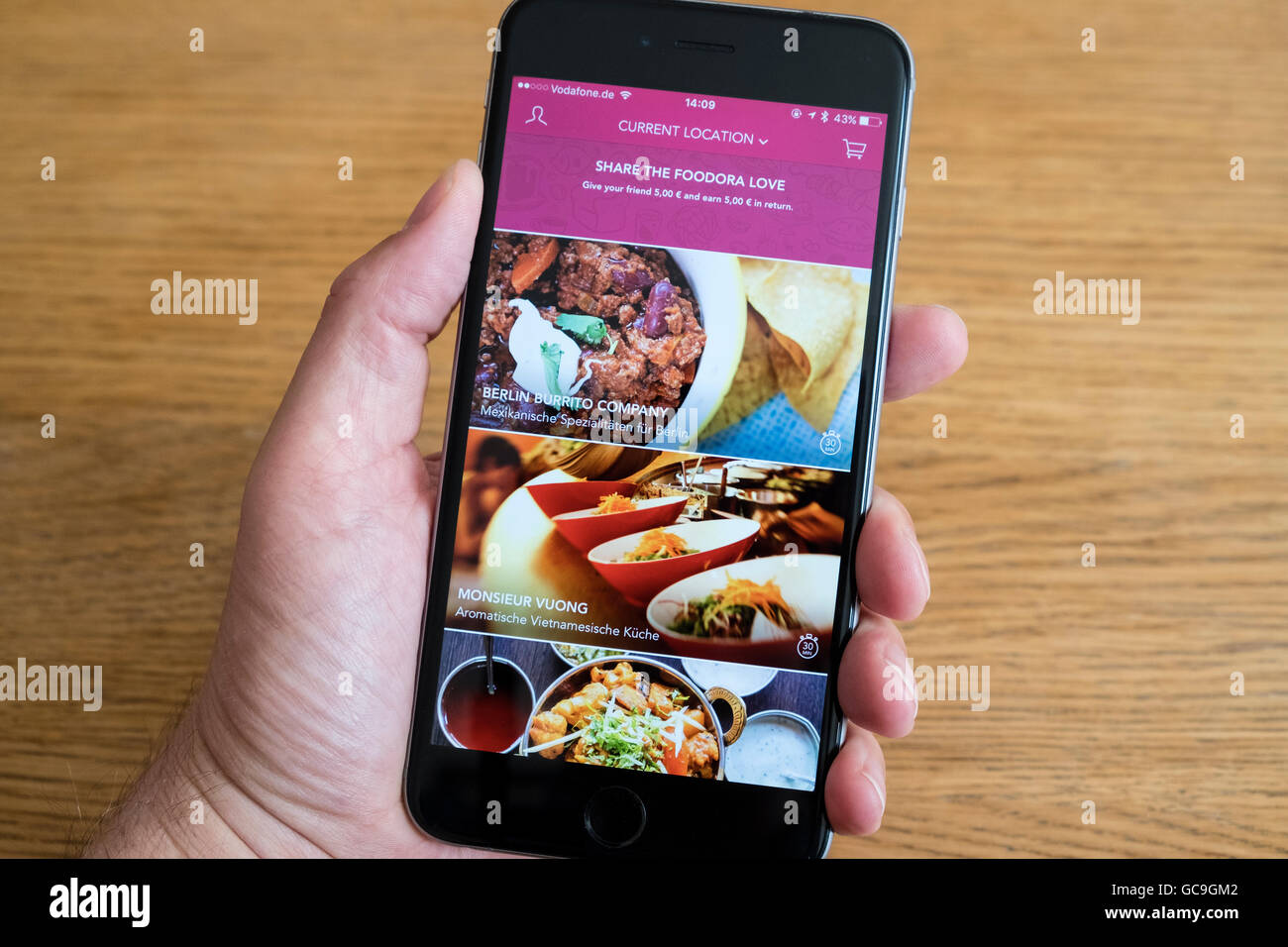 Foodora app restaurant food delivery service on an iPhone 6 smart phone - Stock Image
