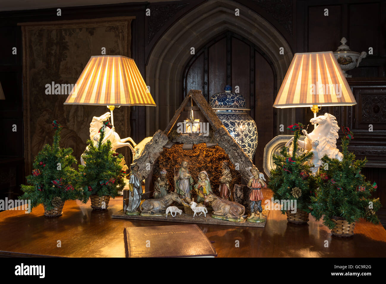 Equestrian lamps and nativity scene in Grade I listed, Victorian gothic Carlton Towers, East Riding - Stock Image