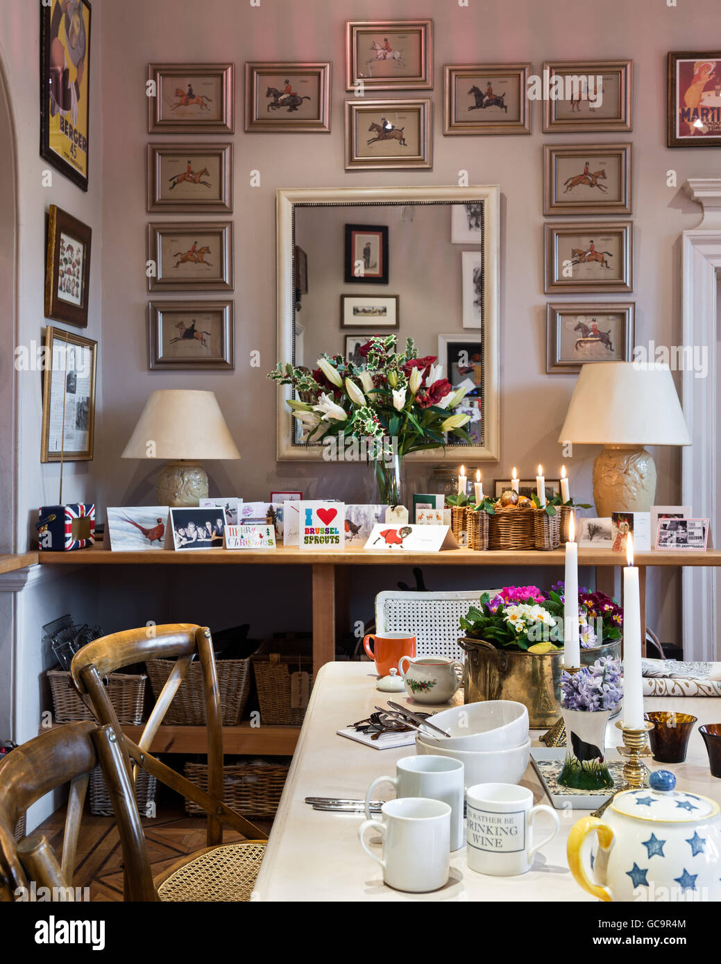 Christmas cards and lilies on side table in kitchen of Grade I listed, Victorian Gothic Carlton Towers, East Riding - Stock Image