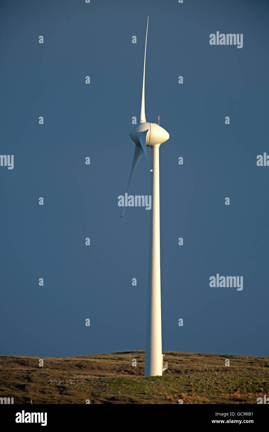 One of the five wind turbines sited on Burger Hill in 1983 above Evie on the Orkney Isles one of the first in UK. - Stock Image