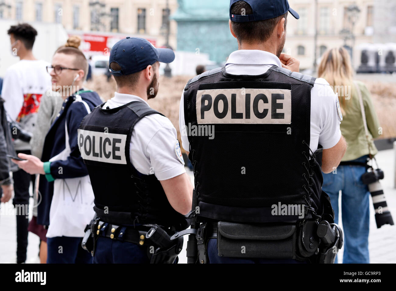 French police officers on official event, Paris Fashion Week 2016 - Stock Image