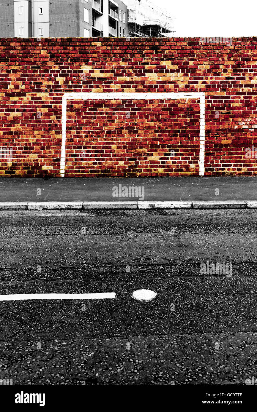 Goal painted on brick wall in Liverpool - Stock Image