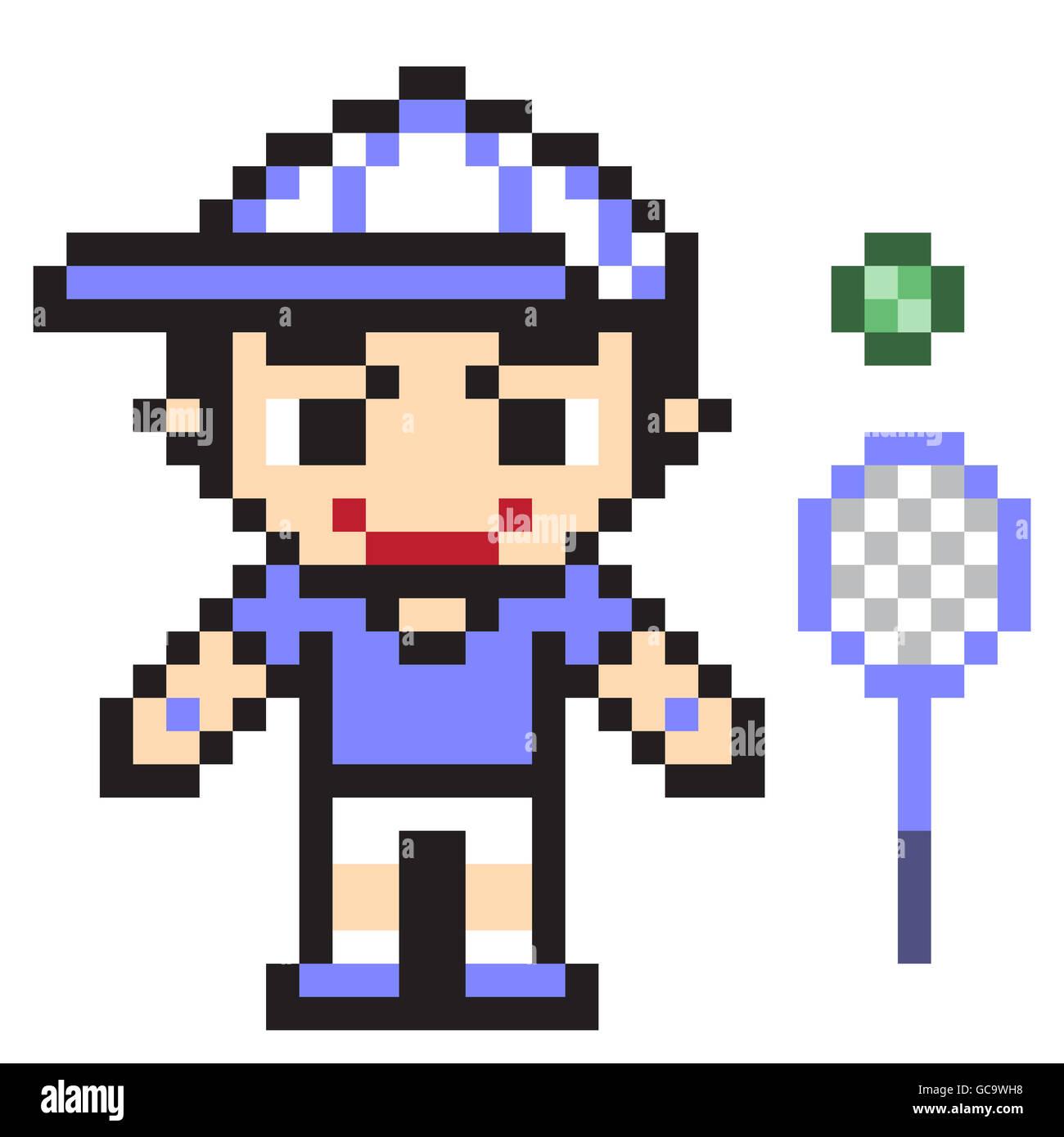Pixel Art Design : Illustration design pixel art tennis stock photo