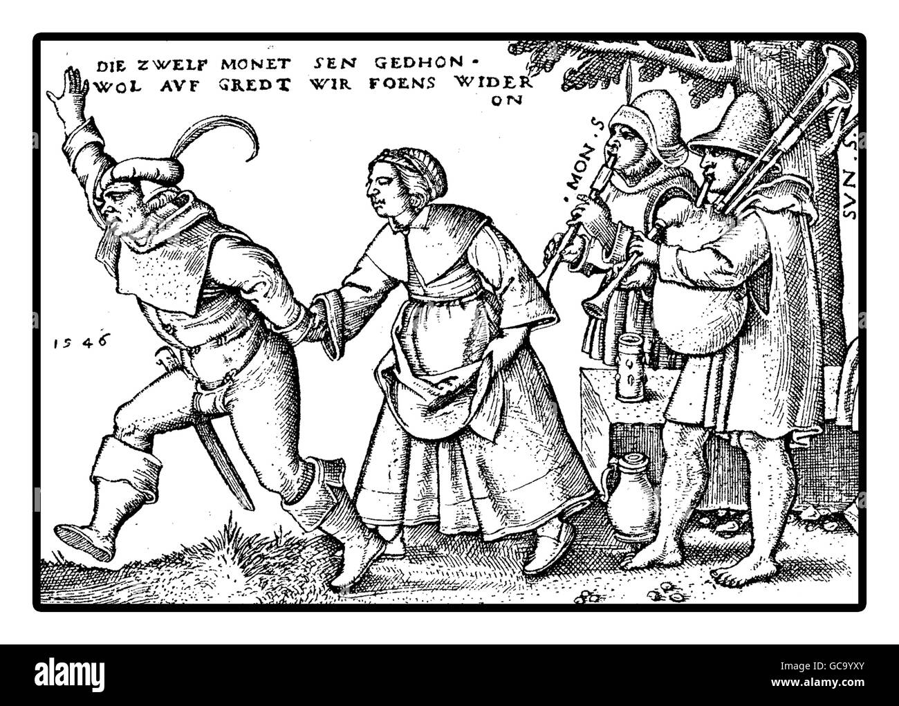 Year 1546, Peasants celebrate a fest dancing and playing  Several festivals took place during the year related to - Stock Image