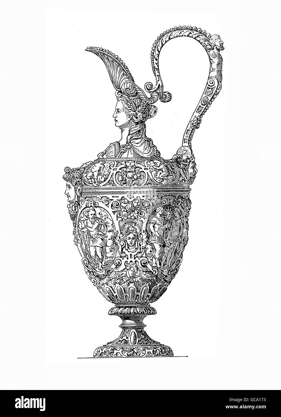 Silver jug, partially gold-plated, finely embossed. Together with a similarly decorated bowl (not shown) it was - Stock Image