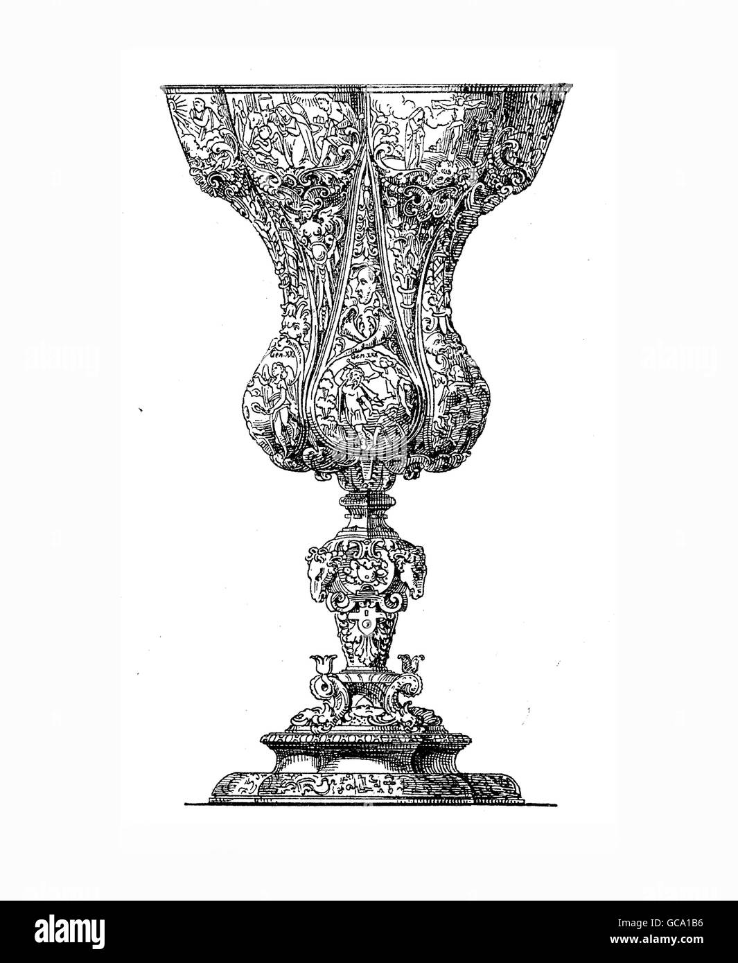 Silver goblet embossed with religious scenes and symbols, once owned by the jewellers guild of Nuremberg and then - Stock Image