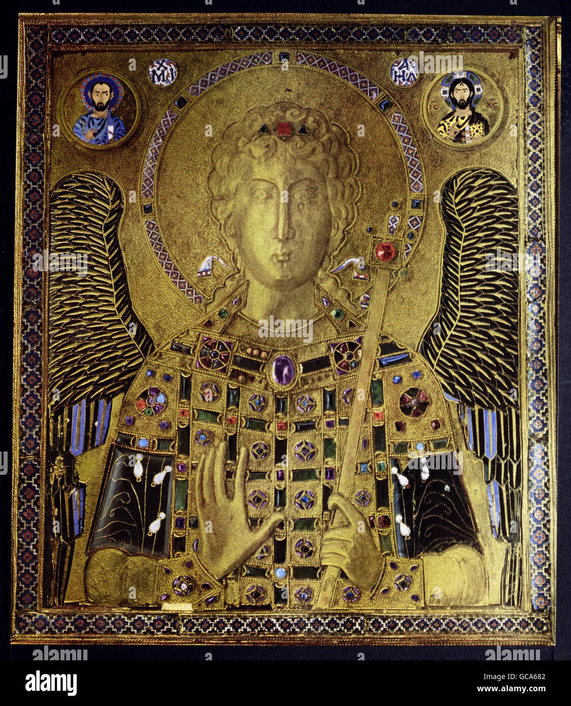 fine arts, middle ages, Byzantine Art, painting, icon, Archangel Michael, Constantinople, 10th century, Tresoro - Stock Image