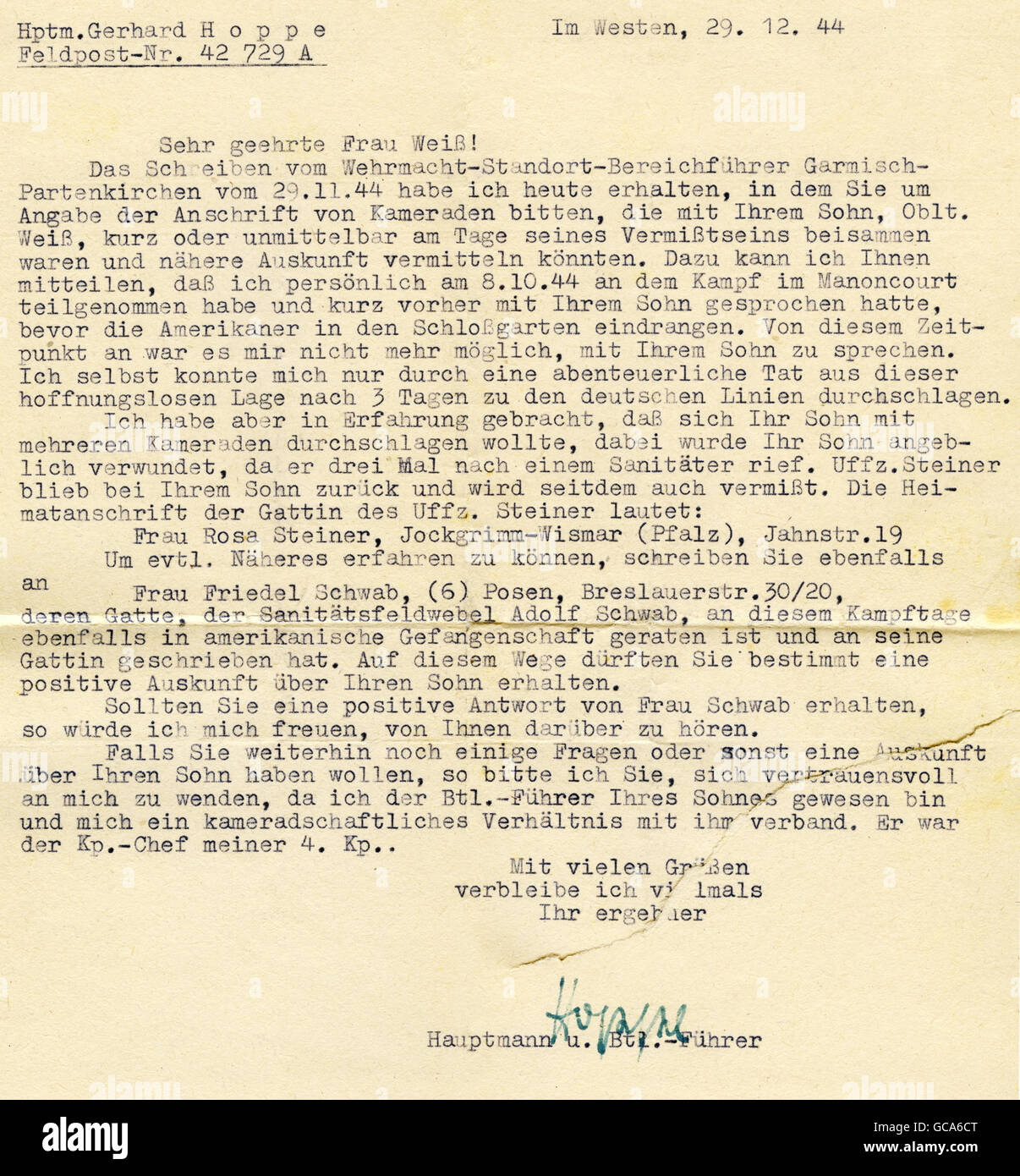 events, Second World War / WWII, Germany, army postal service letter, from Hauptmann Hoppe to Ms. Grete Weiss, 29.12.1944, - Stock Image