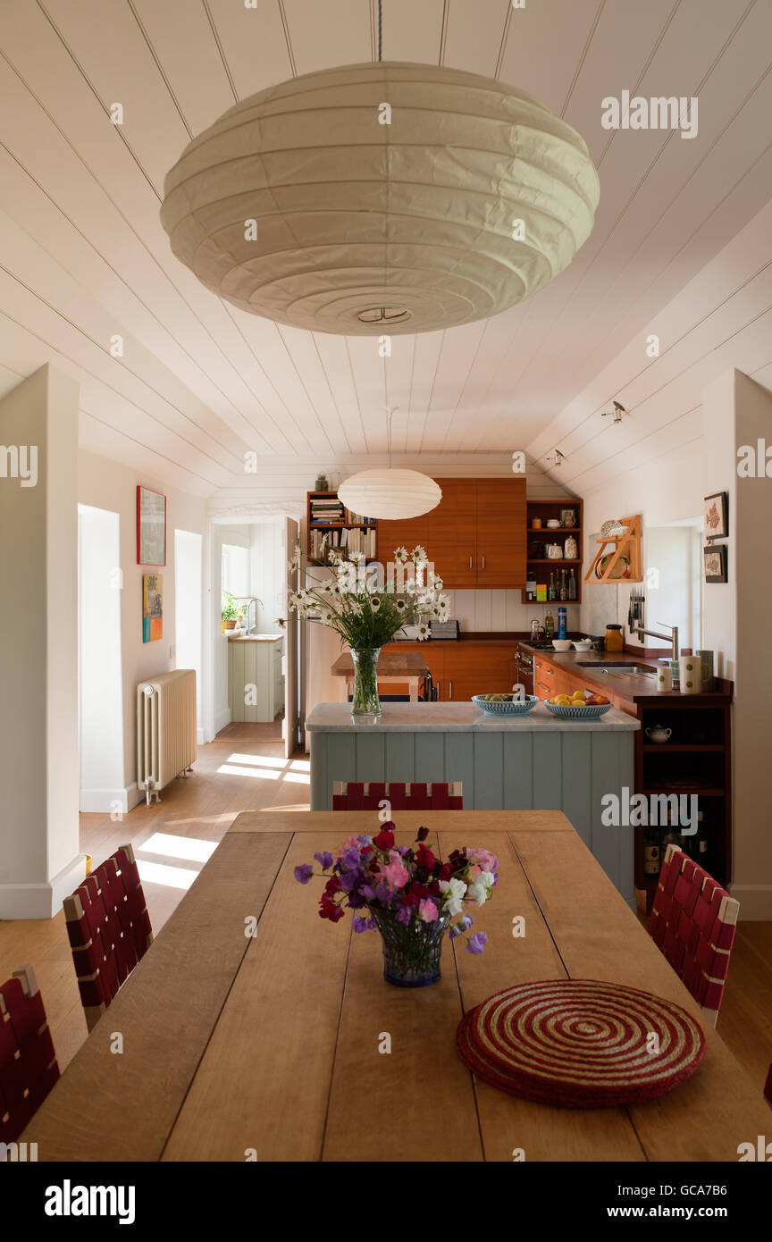 Open Plan Kitchen Dining Room The Arts Crafts Dining Table Is Oak Stock Photo Alamy