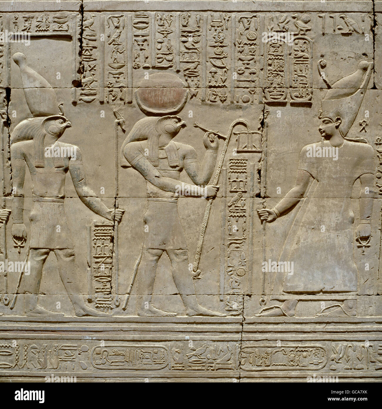 fine arts, ancient world, Egypt, relief in temple of Kom Ombo, - Stock Image