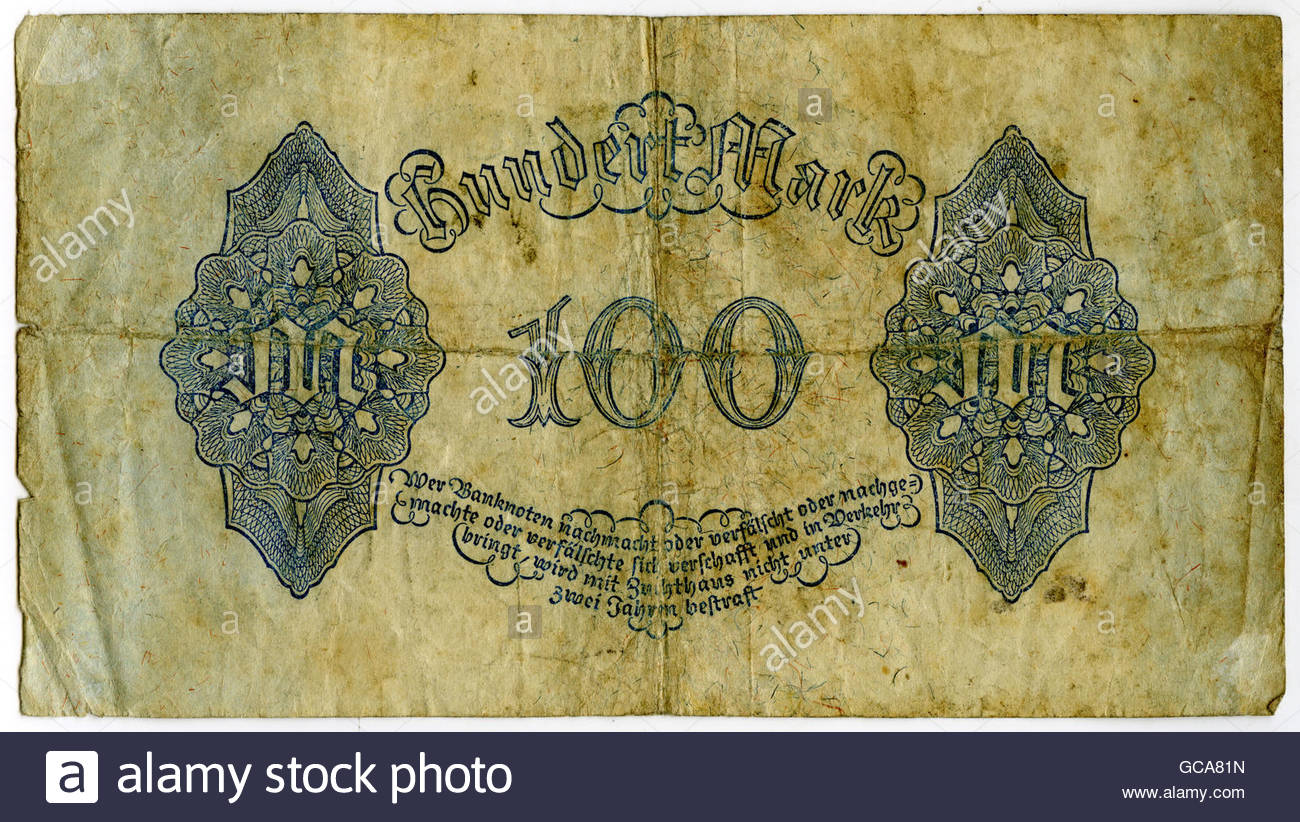 money / finance, banknotes, Germany, 100 Mark, Reichsbank, Berlin 4.8.1922, Additional-Rights-Clearences-Not Available Stock Photo