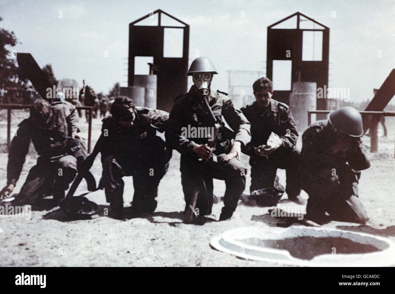 military, German, National People's Army, chemical defence, soldiers with gas masks, 1960s, Additional-Rights - Stock Image
