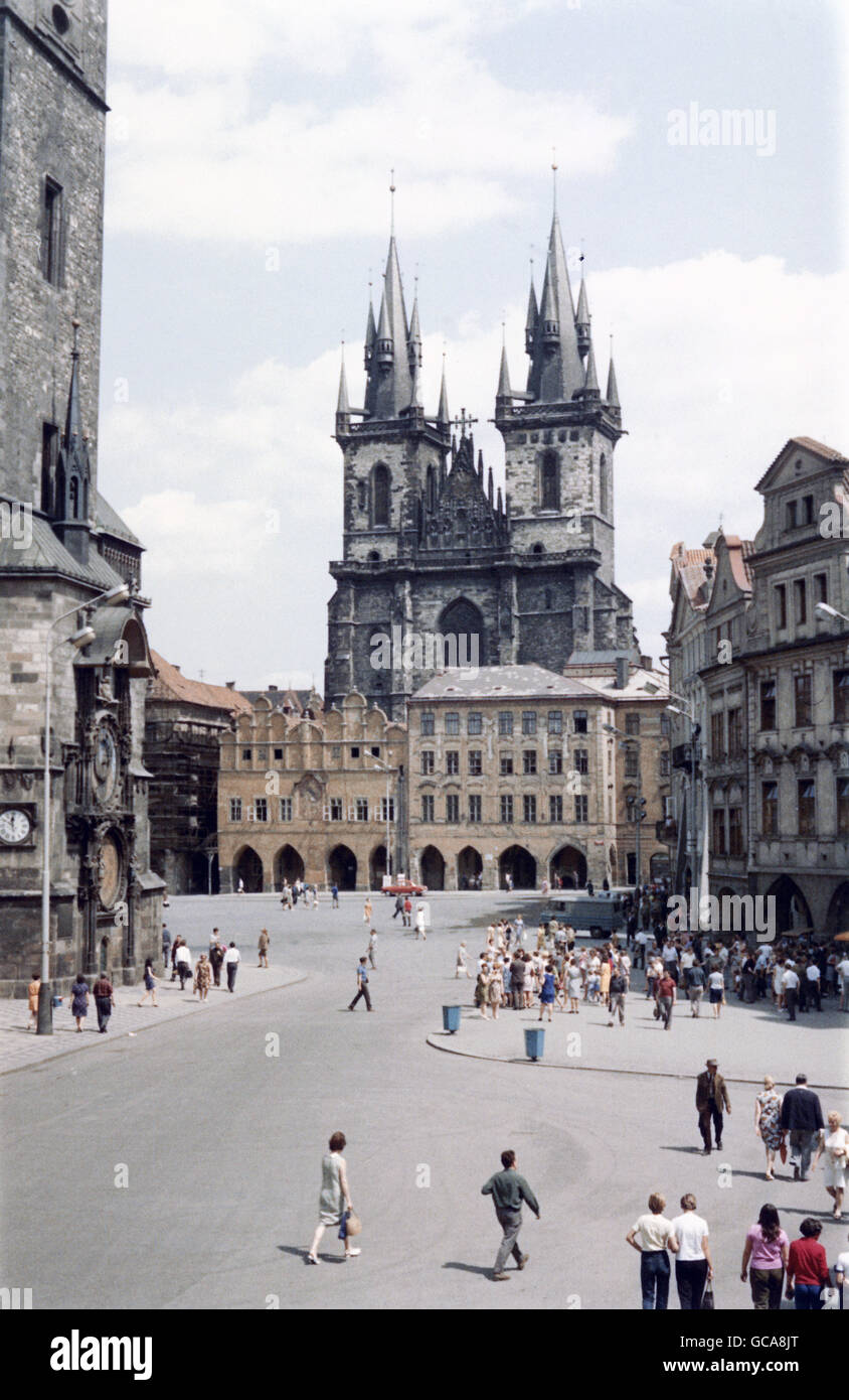 geography / travel, Czech Republic, Prague / Praha, squares, Old Town (Stare Mesto) square, church of virgin Mary - Stock Image