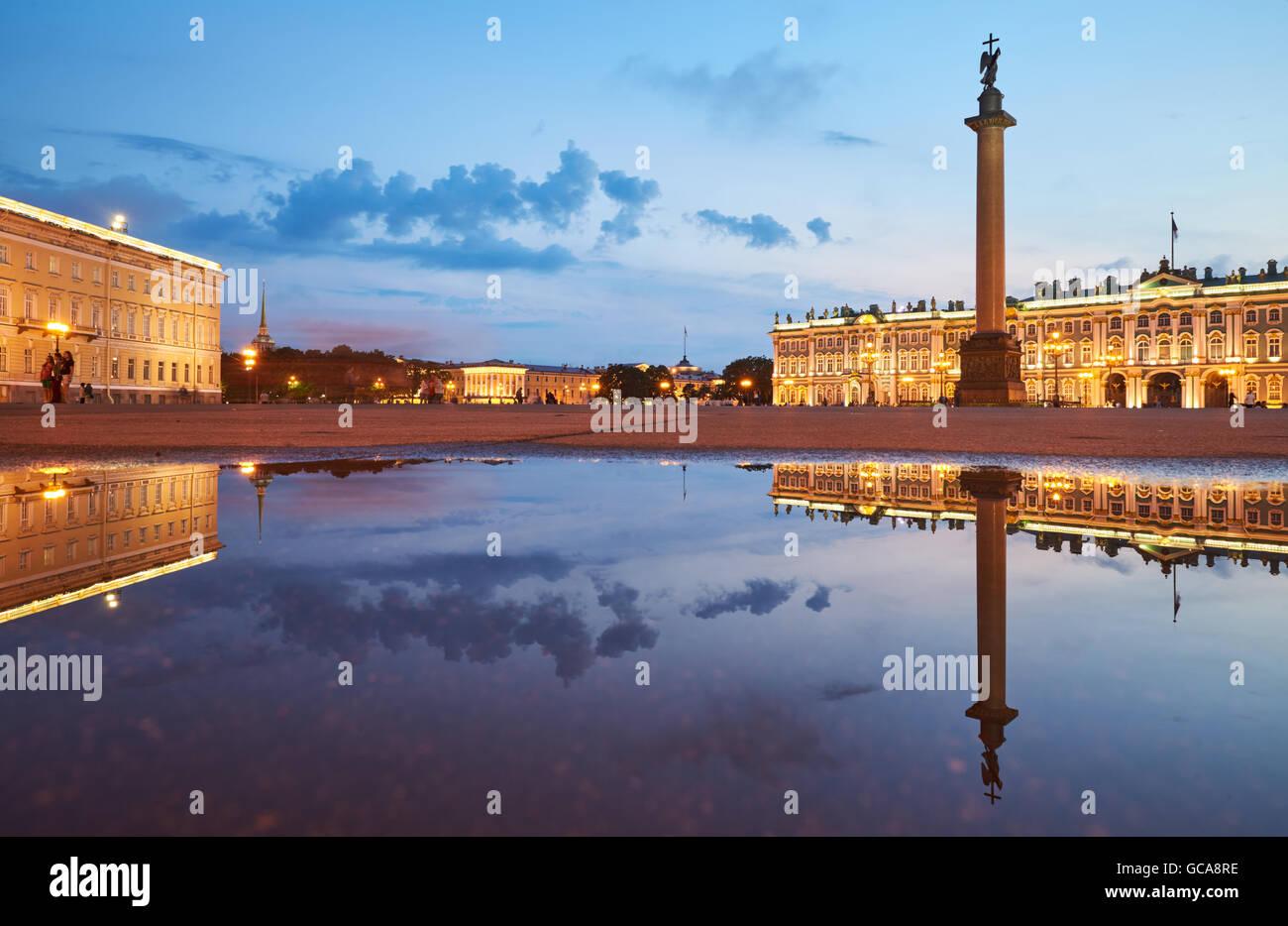 Russia, Saint-Petersburg, 03 July 2016: Palace Square with night illumination, Winter Palace, Hermitage, Alexander - Stock Image
