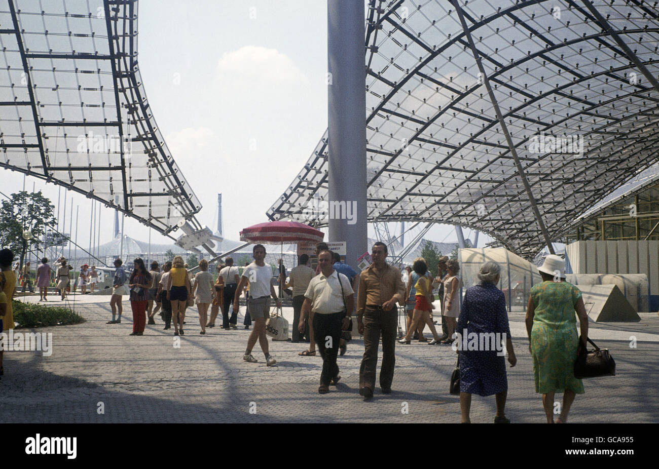 geography / travel, Germany, Bavaria, Munich, buildings, Olympic Grounds, canopy, 1972, Additional-Rights-Clearences Stock Photo