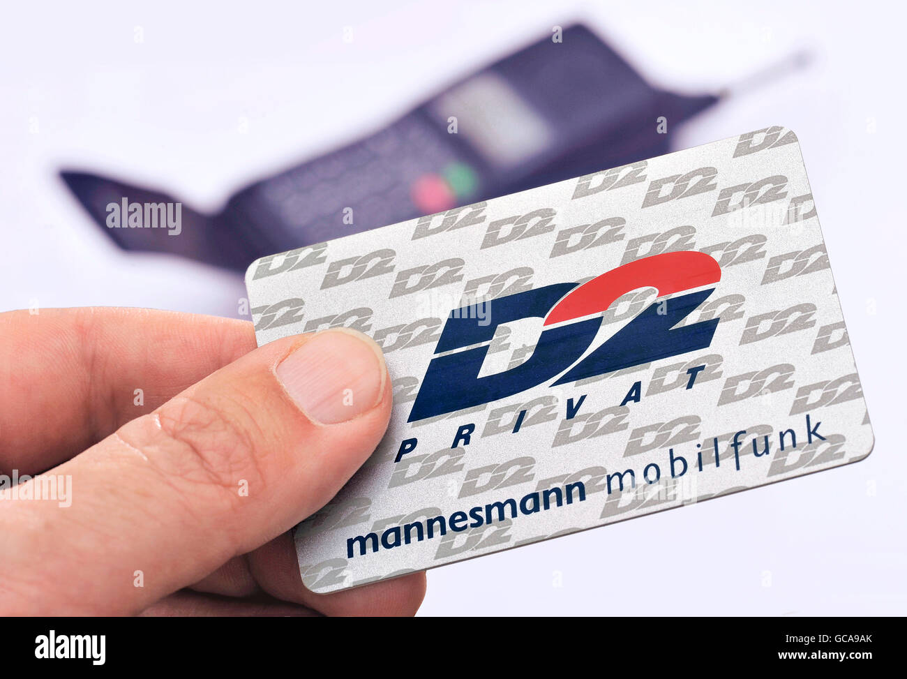 technics, telecommunications, mobile radio, D2 private, Mannesmann, first private German wireless carrier, phonecard, - Stock Image