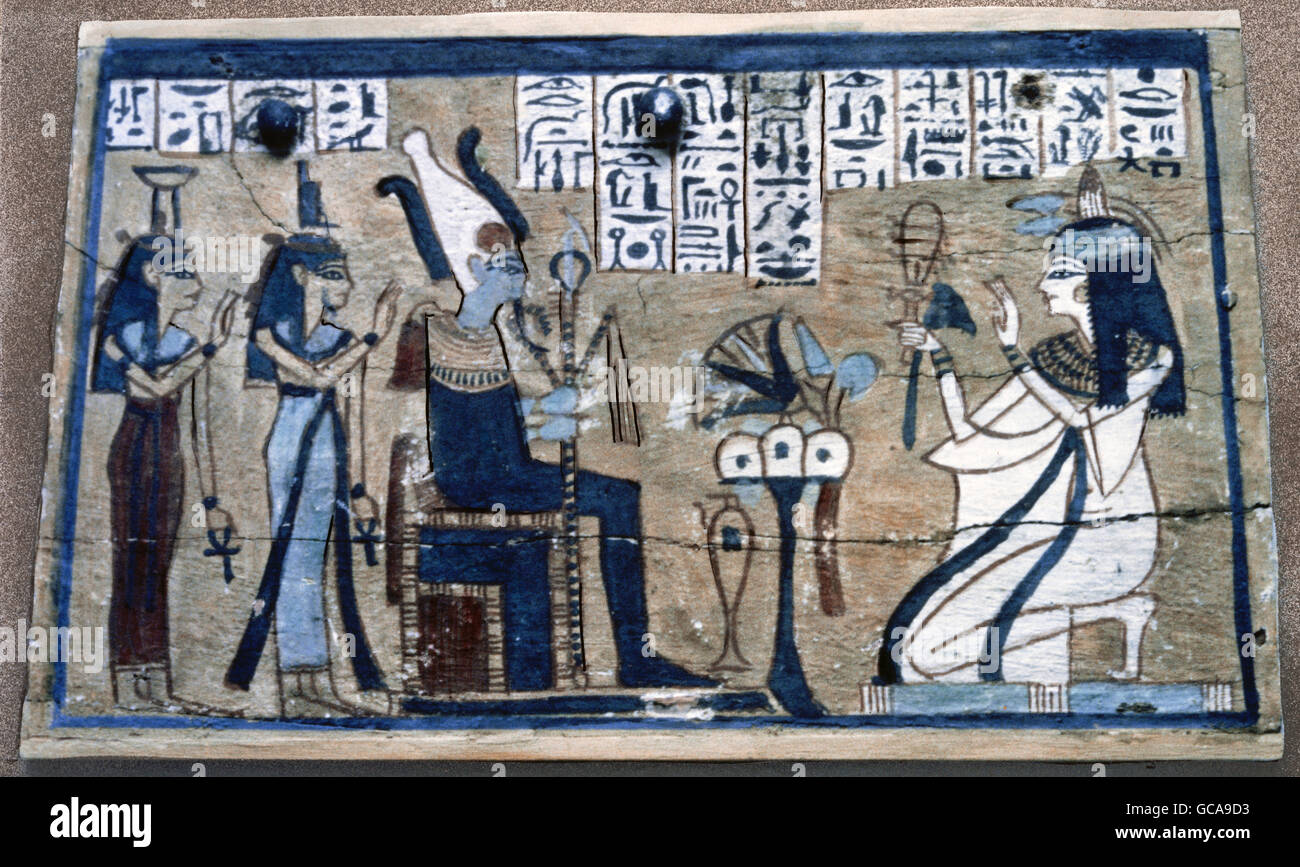 goegraphy / travel, Egypt, religion, priestess before gods Osiris, Isis und Nephtys, painting, top of a wooden box, - Stock Image