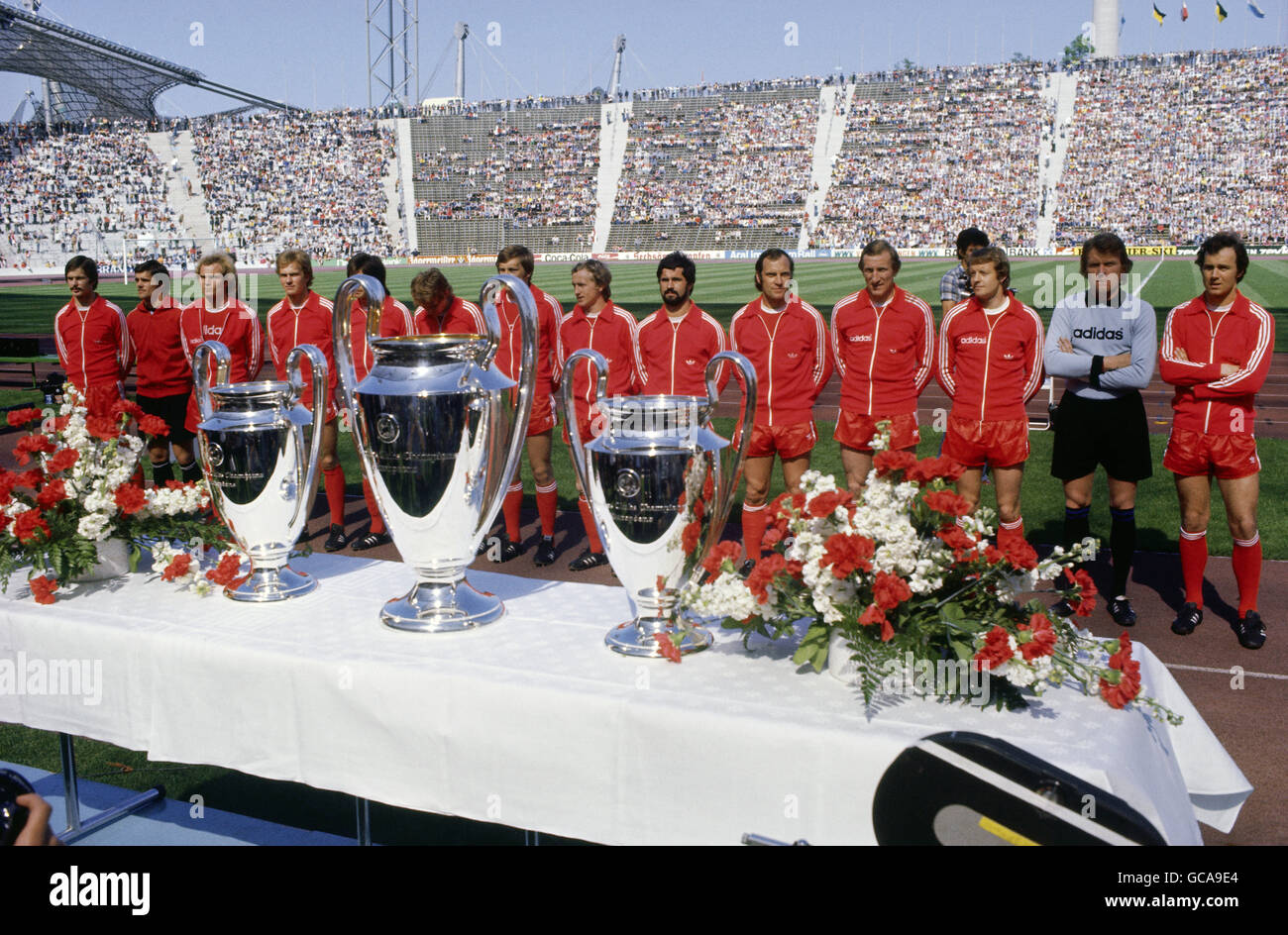 sports, soccer / football, European Champion Club's Cup, FC Bayern Muenchen, group picture, Olympic stadium, - Stock Image