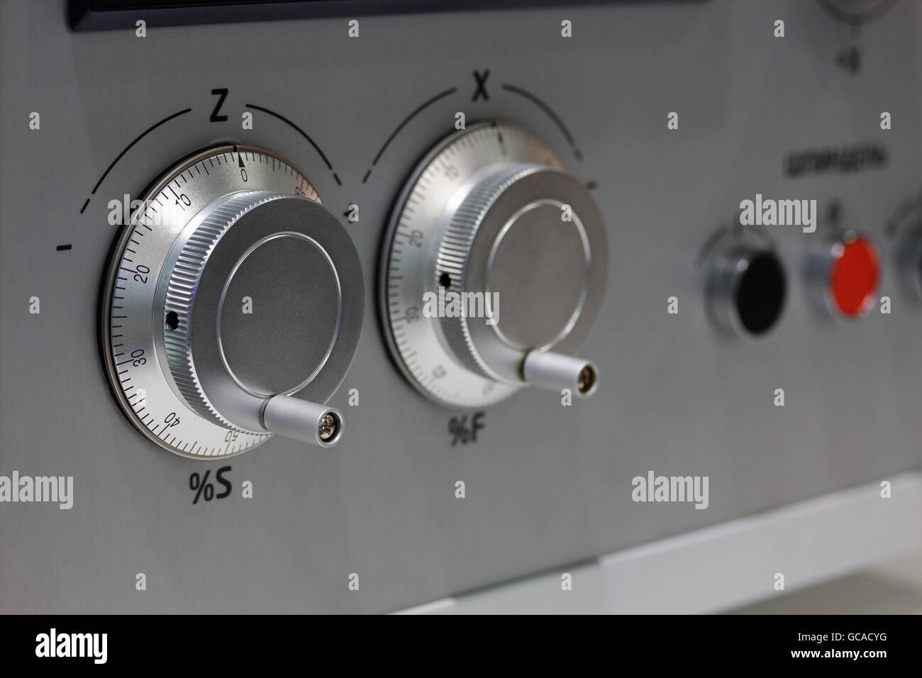 Manual control panel for CNC system with electronic handwheels. - Stock Image