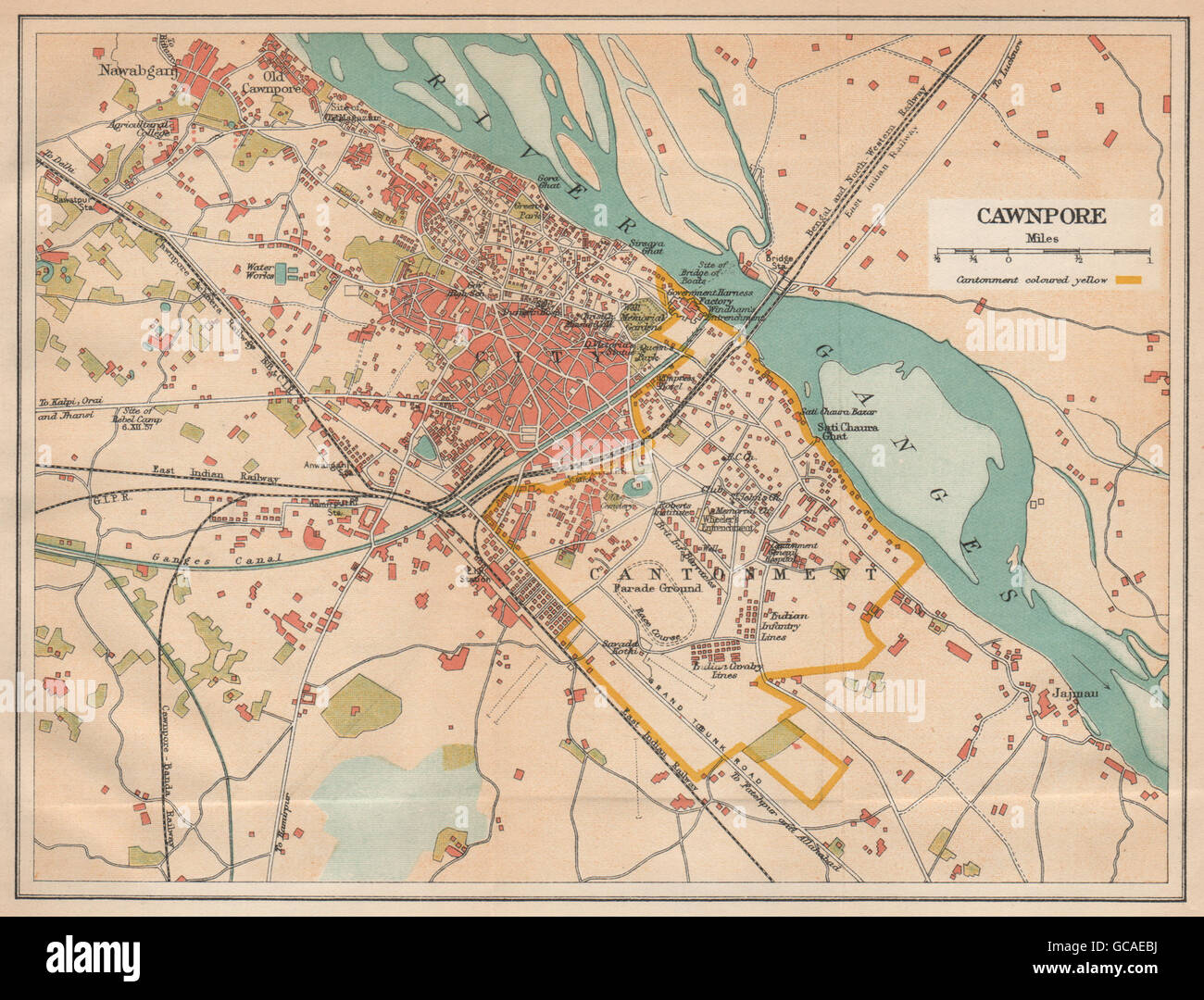 BRITISH INDIA Cawnpore Kanpur city plan showing cantonment 1929
