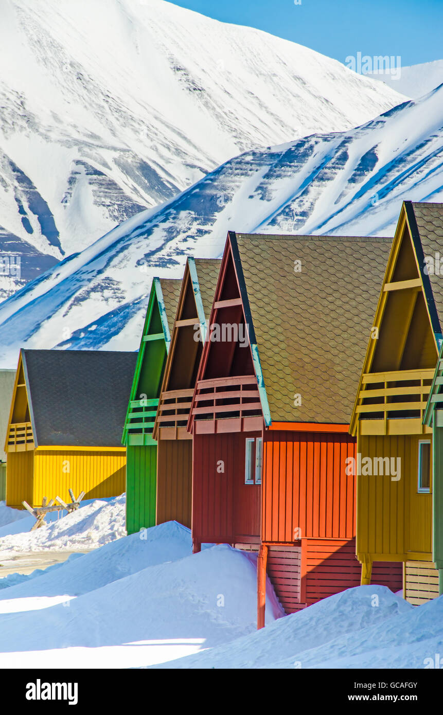 Colorful houses in the Longyearbyen settlement on the island of Spitsbergen, Svalbard, Norway - Stock Image