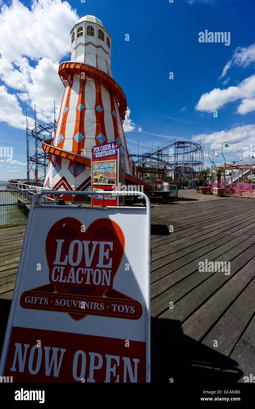 The Helter-Skelter on the pier at Clacton-on-Sea, Essex, UK. - Stock Image