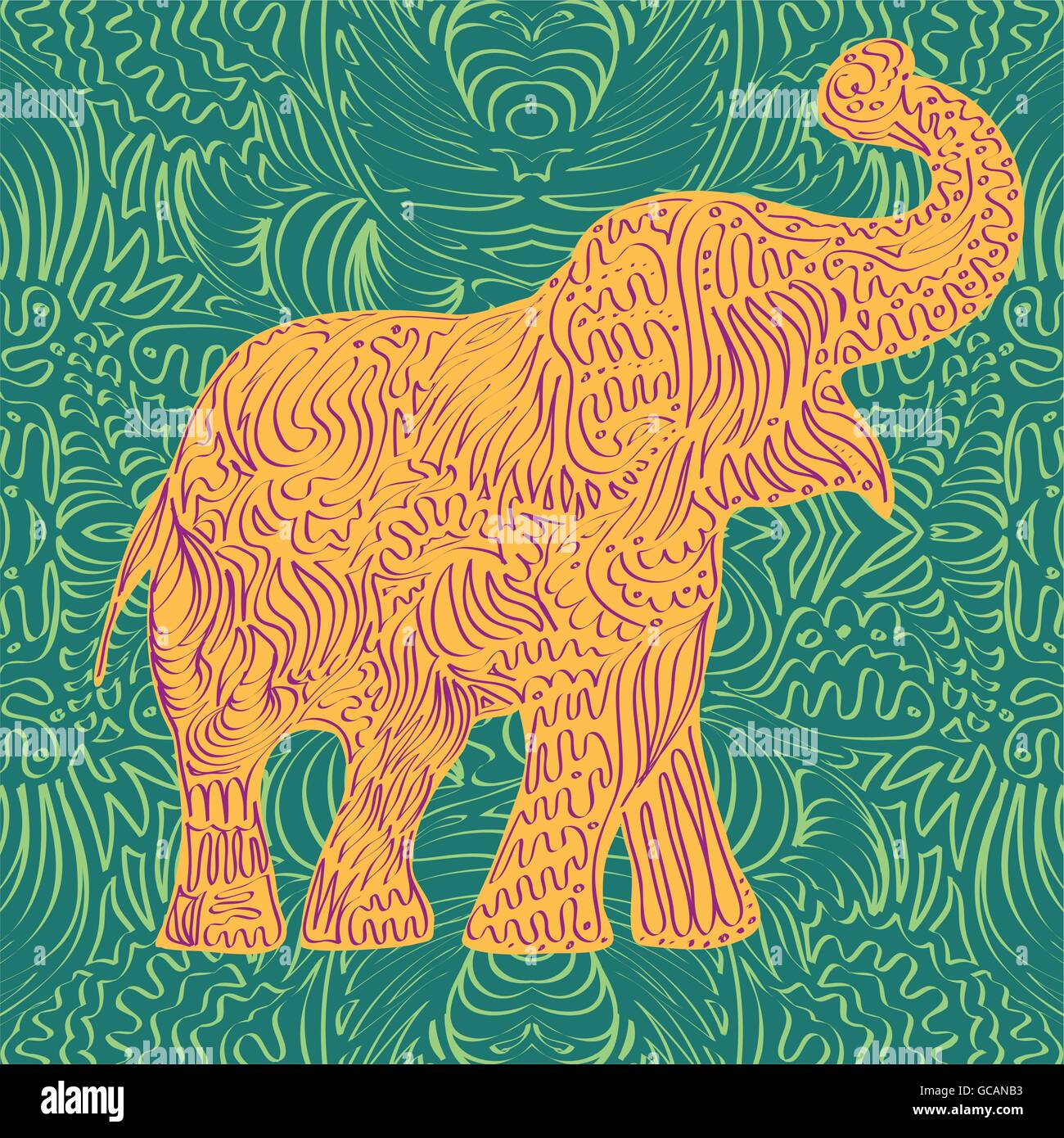 Stylised patterned elephant. Hand drawn vector illustration - Stock Vector